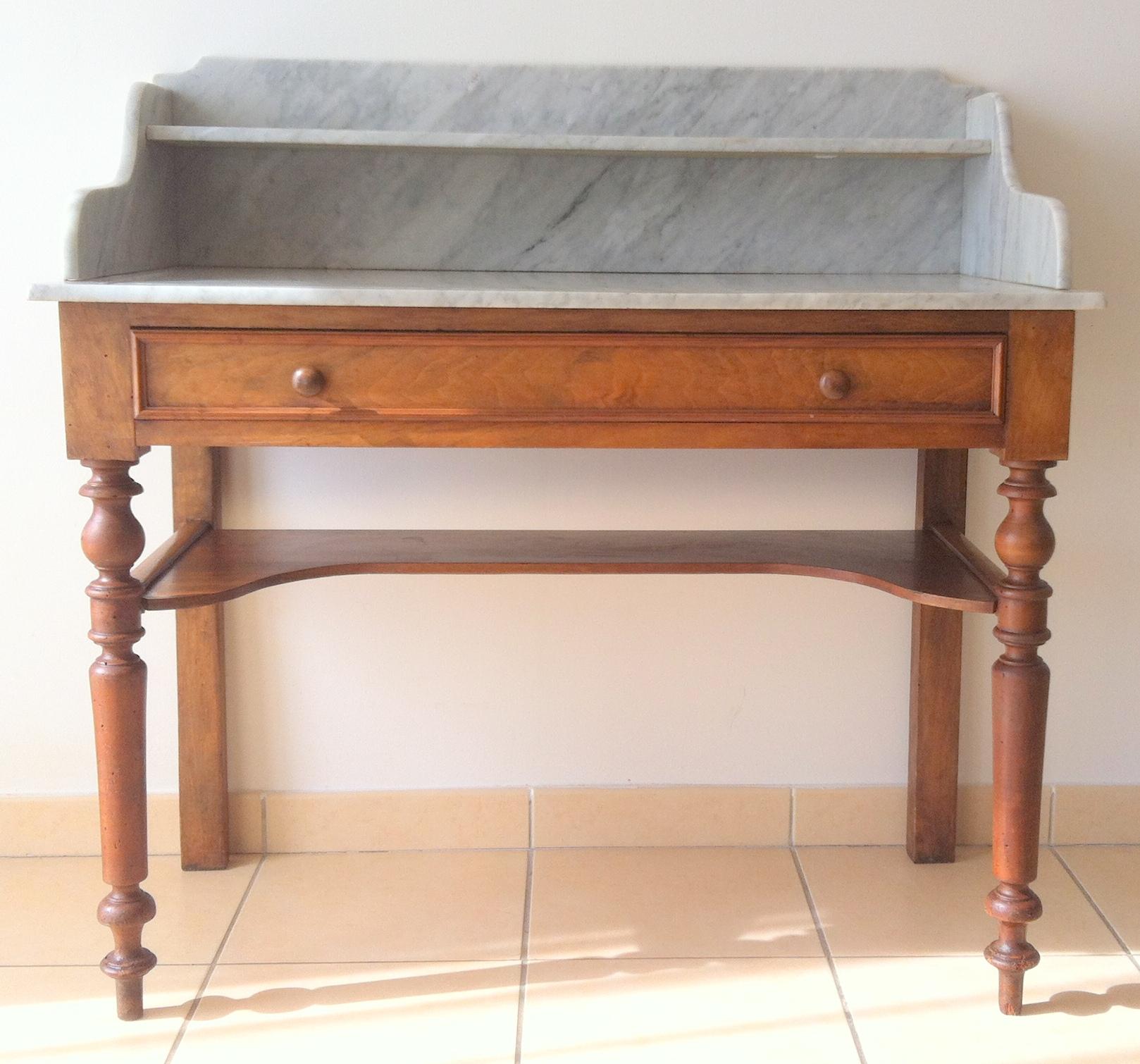 meuble de toilette plateau de marbre blanc circa 1900 antiquites de maguelone. Black Bedroom Furniture Sets. Home Design Ideas