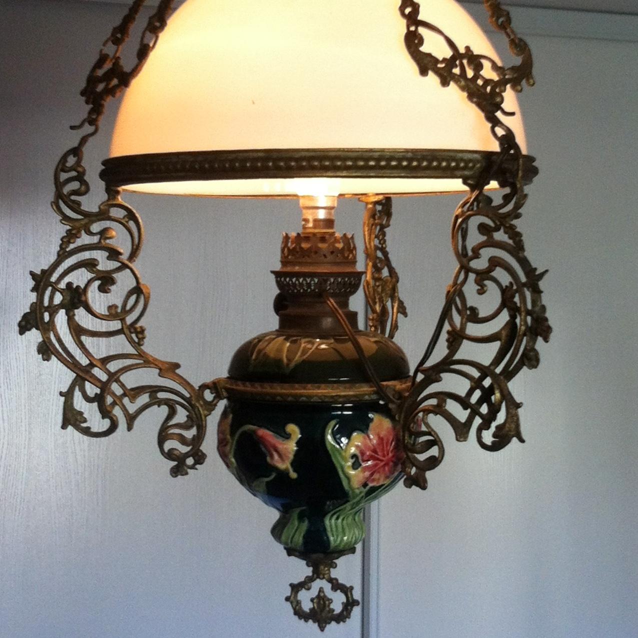 lustre barbotine opaline xixe antiquites de maguelone. Black Bedroom Furniture Sets. Home Design Ideas