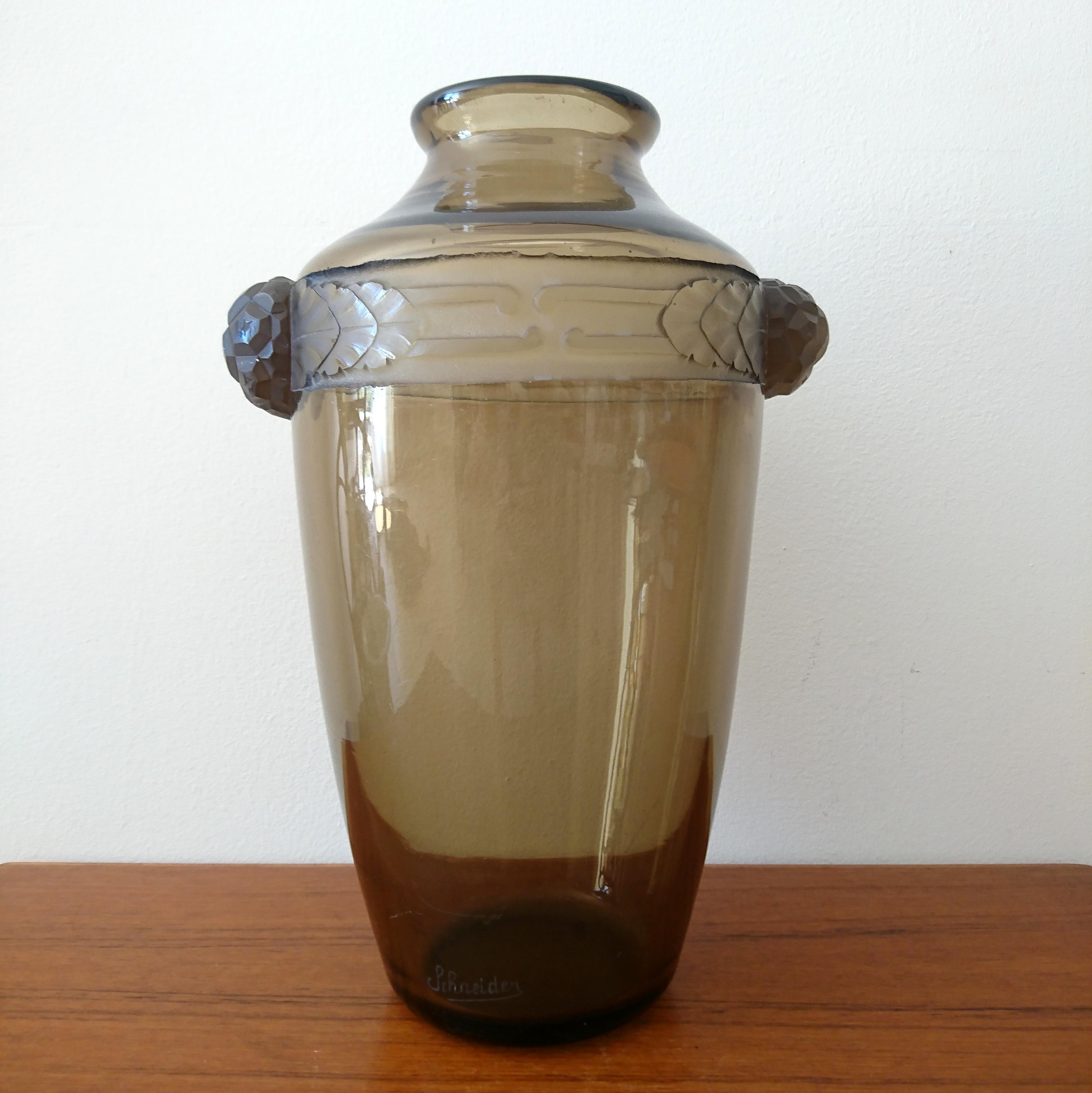 vase schneider d cor de frise art d co antiquites de maguelone. Black Bedroom Furniture Sets. Home Design Ideas